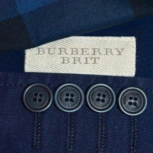 NWT 40R Burberry Brit Navy Blue Cotton BLAZER